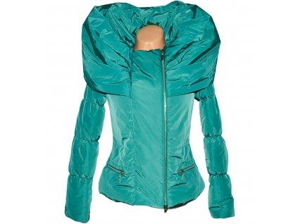 Dámská prošívaná smaragdová bunda s objemným límcem Mary C  L