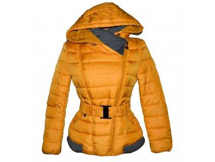 Dámský prošívaný žlutý - hořčicový kabát s páskem a kapucí M