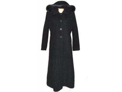 Vlněný dámský dlouhý šedý zimní kabát s kapucí MODINI XXL