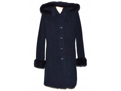 Vlněný (70%) dámský modrý zimní kabát s kapucí (vlna, kašmír) XL/XXL