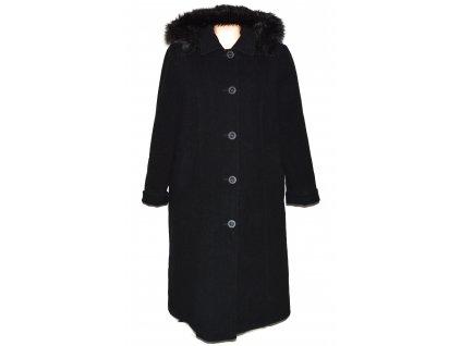 Vlněný (70%) dámský černý dlouhý zimní kabát s kapucí (vlna, kašmír) ODEMA 52
