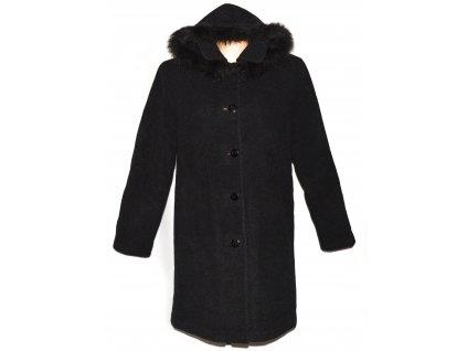 Vlněný dámský zateplený šedočerný kabát s kapucí L