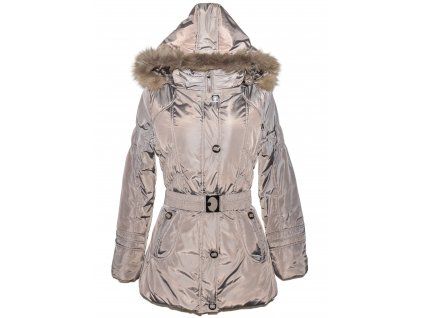 Dámský hnědý zimní prošívaný kabát s páskem a kapucí NATURE M