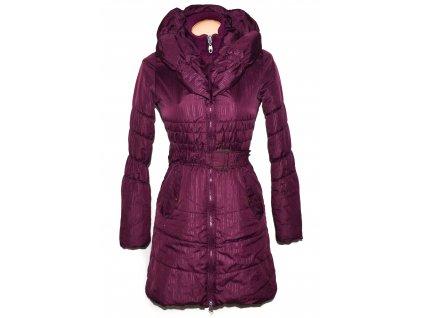 Dámský fialový prošívaný kabát s páskem a límcem Authority XS