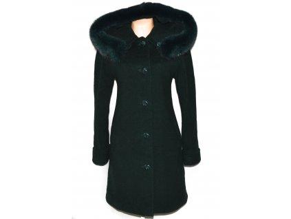 Vlněný dámský zelený kabát s kapucí (vlna, kašmír) S