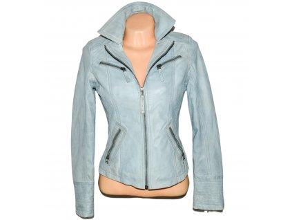 KOŽENÁ dámská měkká modrá bunda na zip MAX S