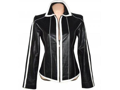 KOŽENÁ dámská černá měkká bunda s bílými pruhy Hollies S