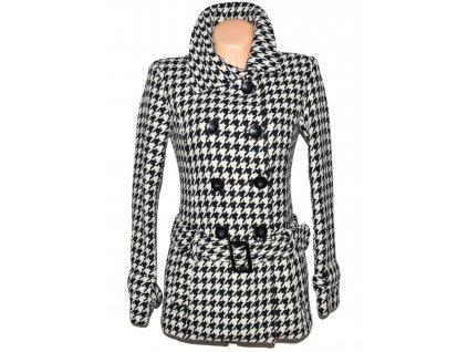Vlněný dámský černobílý kabát s páskem - kohoutí stopa Clockhouse S