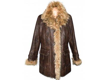 KOŽENÝ dámský hnědý zateplený měkký kabát s kožíškem C&A XXL