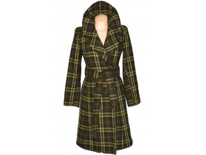 Vlněný dámský dlouhý zelený kostkovaný kabát s páskem ORSAY 36