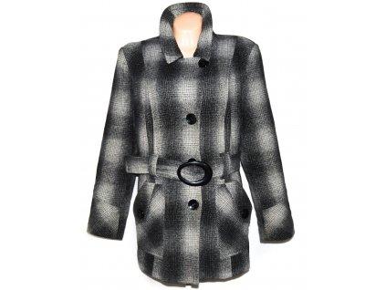 Vlněný dámský šedočerný zateplený kabát s páskem Makryl XL