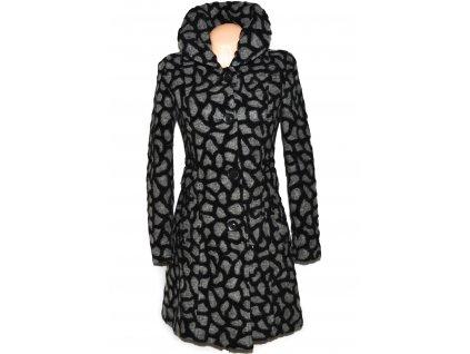Vlněný (45%) dámský šedočerný vzorovaný kabát ODEMA 36