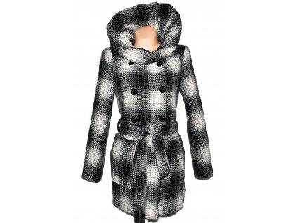 Dámský černo-šedo-bílý kabát s páskem a límcem AMISU 38