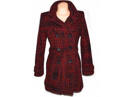 Vlněný (75%) dámský černo-červený kabát s páskem (vlna, kašmír) 40