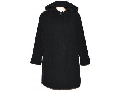 Vlněný (70%) dámský černý kabát s kapucí Profashion 48
