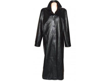 KOŽENÝ dámský černý měkký dlouhý kabát XXXL