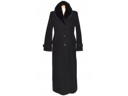 Vlněný (70%) dámský černý dlouhý kabát s kožíškem Carlo Cecci (vlna, kašmír) 42