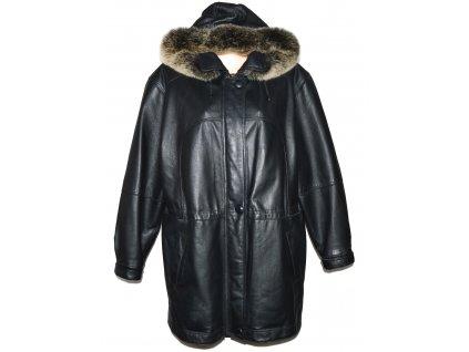 KOŽENÁ dámská černá měkká parka s kapucí, pravý kožíšek XXL
