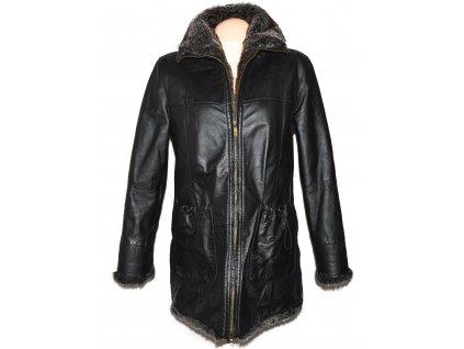 KOŽENÝ dámský zimní měkký kabát s kožíškem Julia S.Roma M