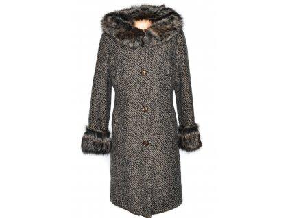 Dámský hnědočerný dlouhý zateplený kabát s kapucí Lynx 46