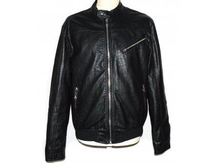 KOŽENÁ pánská černá měkká bunda na zip H&M M