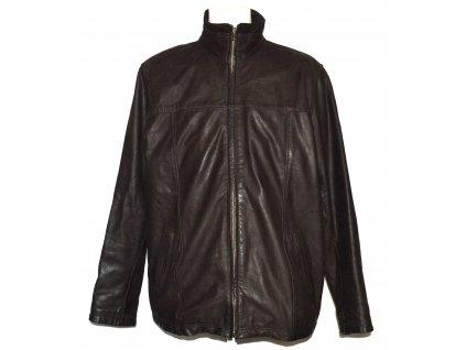 KOŽENÁ pánská hnědá měkká bunda na zip KARA 56