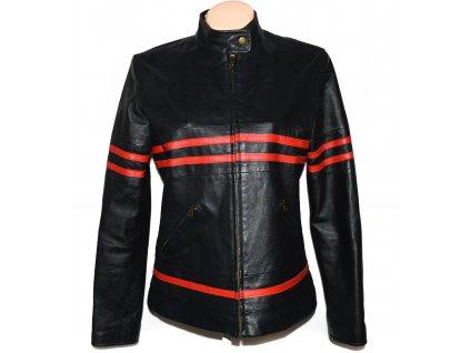KOŽENÁ dámská černá měkká bunda s červenými pruhy Calypso 42