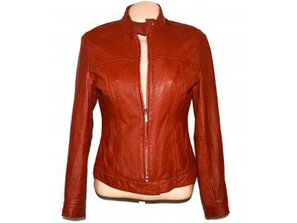 KOŽENÁ dámská červená měkká bunda na zip M 3