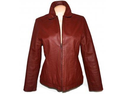 KOŽENÁ dámská červená zateplená bunda na zip ENJOY L