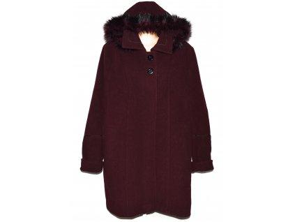 Vlněný (70%) dámský vínový zimní kabát s kapucí Volansky Prostějov (vlna, kašmír) XXXXL+