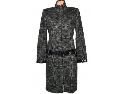 Vlněný (58%) dámský vzorovaný kabát s páskem MAXIMA M/L