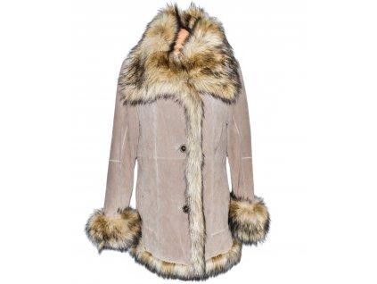 KOŽENÝ dámský béžový semišový zateplený kabát s kožíškem EVOCO M