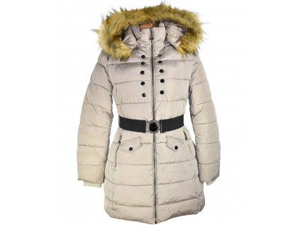 Dámský béžový prošívaný zimní  kabát s páskem a kapucí GALLOP L