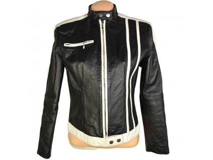 KOŽENÁ dámská černá měkká bunda s bílými proužky Style M