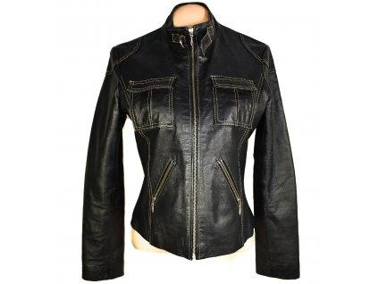 KOŽENÁ dámská černá měkká bunda na zip Kenvelo L