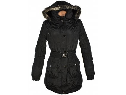 Dámský černý prošívaný kabát s páskem a kapucí Hikiss 42