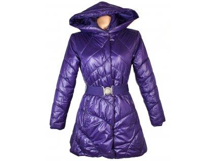 Dámský prošívaný fialový kabát s páskem a kapucí EXE S