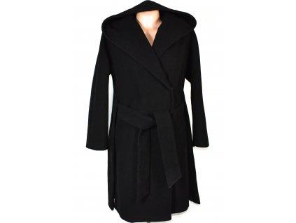Vlněný (47%) dámský černý kabát s páskem MORGAN 42