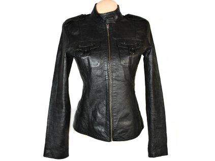 KOŽENÁ dámská černá měkká zateplená bunda na zip Reserved 38