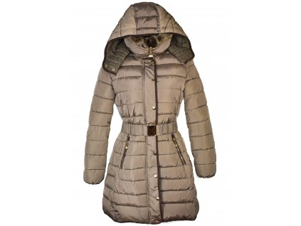 Dámský hnědý prošívaný zimní kabát s páskem a kapucí Gallop M