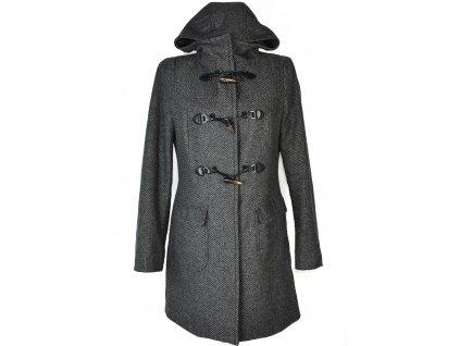 Vlněný (80%) dámský šedočerný kabát s kapucí BENETTON M