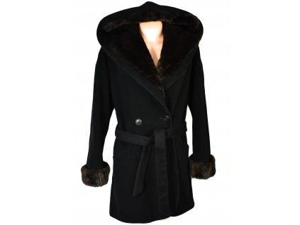 Vlněný (70%) dámský černý kabát s páskem a kapucí Bellandi Italy XXL+