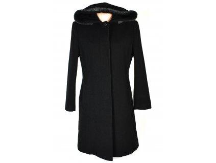 Vlněný (70%) dámský černý kabát s kapucí Carlo Cecci (vlna, kašmír) 40