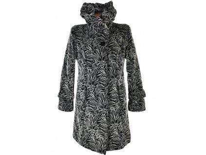 Vlněný (50%) dámský šedočerný zateplený kabát 42