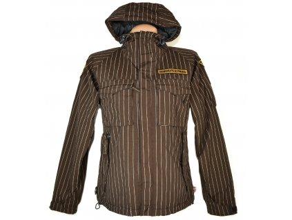 Dámská hnědá pruhovaná bunda s kapucí HORSEFEATHERS M