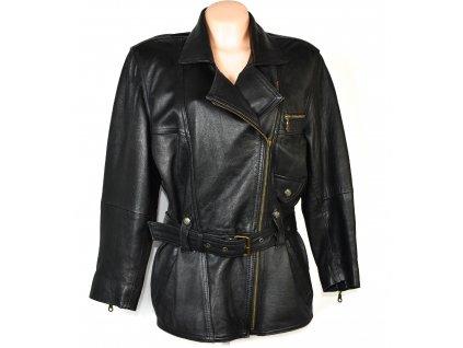 KOŽENÝ dámský černý měkký křivák - kabát s páskem C&A L
