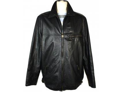 KOŽENÁ pánská černá měkká bunda na zip Lop 56
