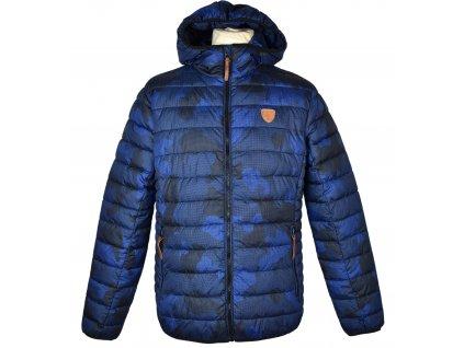 Pánská modrá prošívaná bunda s kapucí SAM73 M