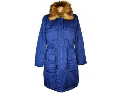Dámský prošívaný královsky modrý prošívaný zateplený kabát - parka s kožíškem BPC 18/44 - s visačkou