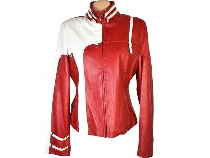 KOŽENÁ dámská červená měkká bunda na zip Collina XL